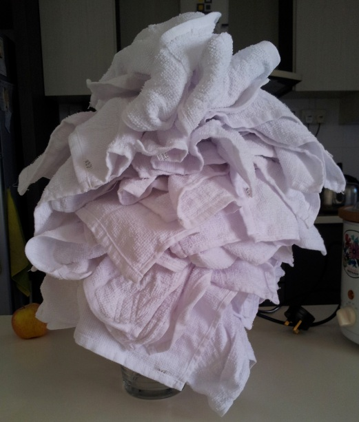 bunch of washed tea towels