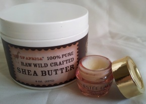 Shea butter I bought from iherb.  Transferred into an estee lauder cute pink sample container.